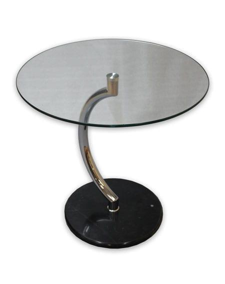 שולחן המתנה עגול מזכוכית רגל מעוצבת דגם מון