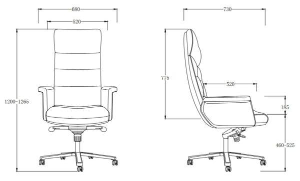 כסא מנהלים מעור אמיתי דגם MARS תרשים מידות